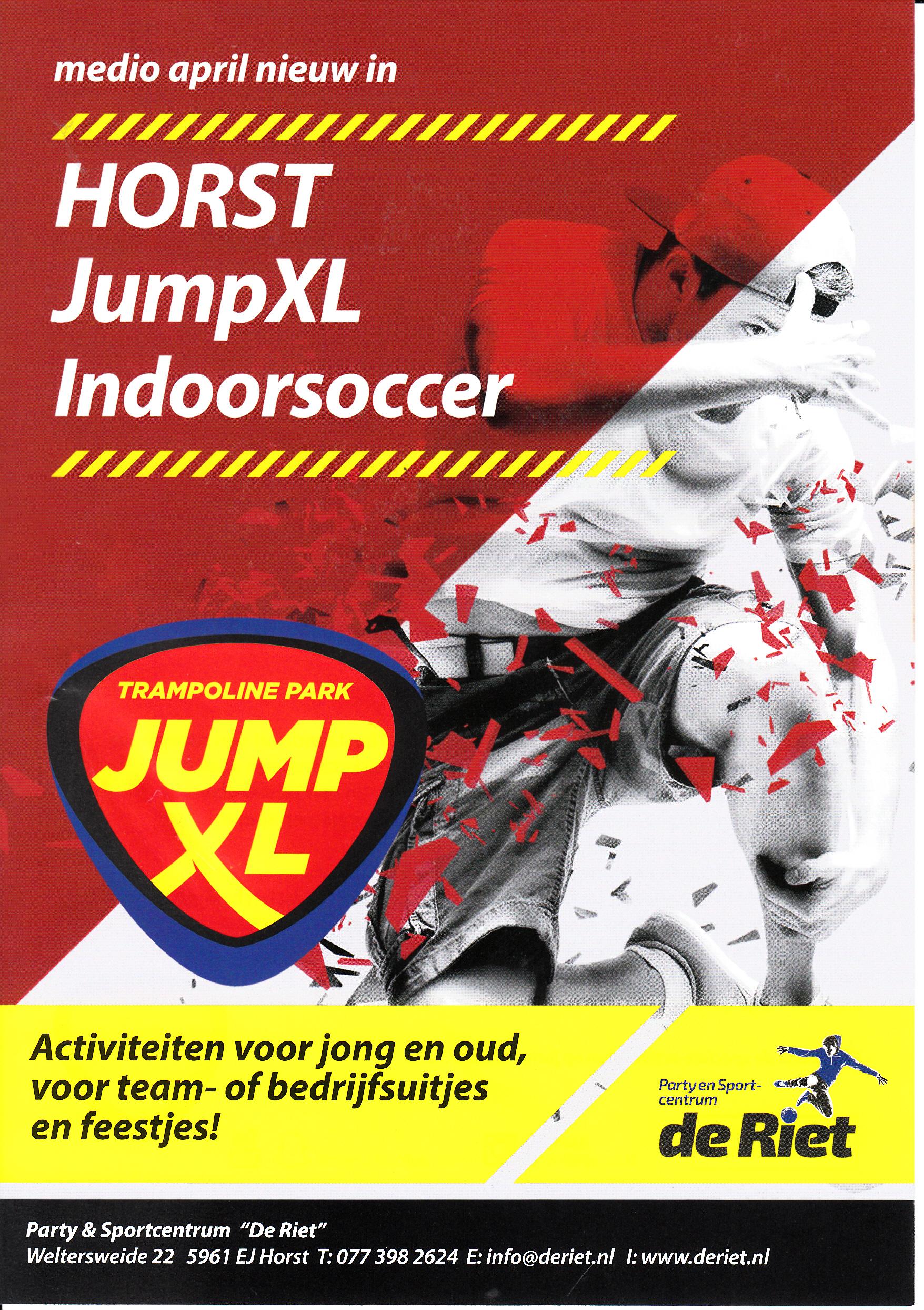 Party en Sportcentrum De Riet met publiekstrekker JUMP XL op dezelfde locatie.